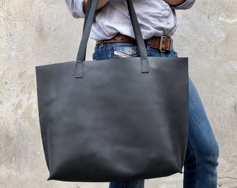 2caec241d4 Large Black Leather tote bag SALE - Travel Leather bag Large Shopper -  Black Leather office school computer bag - Full grain leather tote