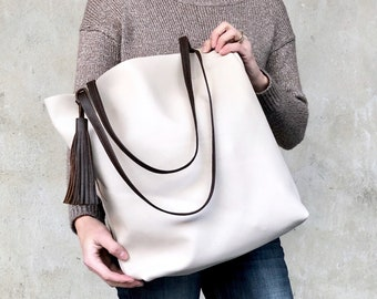 """Tall Cream Leather Tote Work and travel leather bag 15""""x 14"""" Leather  Computer bag with Zipper gift for women Medium leather shopper tote bag a9e25136c645a"""