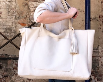 """669d987fd2 Extra large leather tote bag 24""""x 15"""" Oversized work and travel computer bag"""