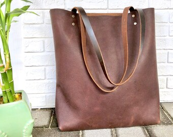 "Tall Brown Leather Tote Work and travel leather bag 15""x 14"" Leather  Computer bag with Zipper gift for women Medium leather shopper tote bag a277da614a"