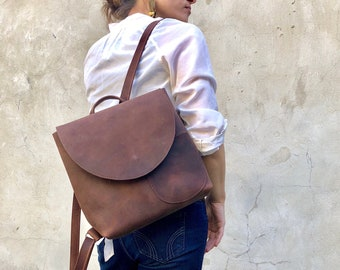 adedcab5e Small Leather Backpack Rucksack SALE, School work leather Backpack , Brown  Leather Rucksack Bag, Minimalist Leather Backpack, Brown bag