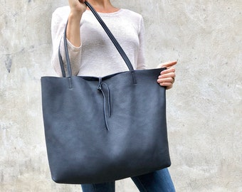Large Leather Tote Shopper SALE - Oversize Work Travel Leather Tote pockets  - Large overnight weekender leather tote - Slouchy leather bag 3f23a971a4d3e
