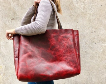 Extra large red leather tote bag , Oversized work and travel computer bag,  Large shopping bag, Leather Carryall bag with zipper b92e6adee0