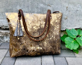 89ea5e94b4 Large Metallic Leather tote SALE - Large work travel leather bag - brown  leather tote bag - School work computer bag - Oversize leather bag