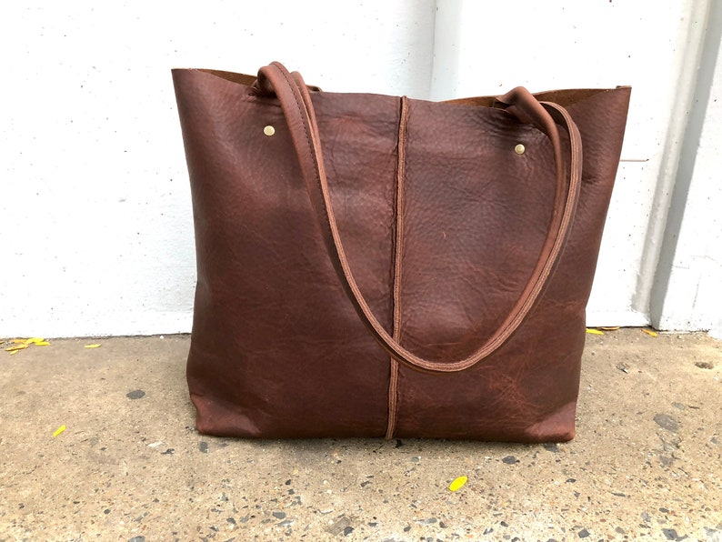 2b0dea1f5 Large Brown Leather Tote 18x14 Work travel leather bag | Etsy