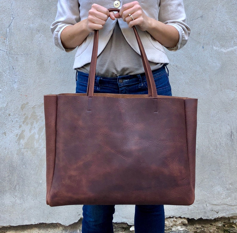 "Extra Large Leather tote 21""x 13"" Oversized Leather travel bag - Overnight   51edb6cd061e2"