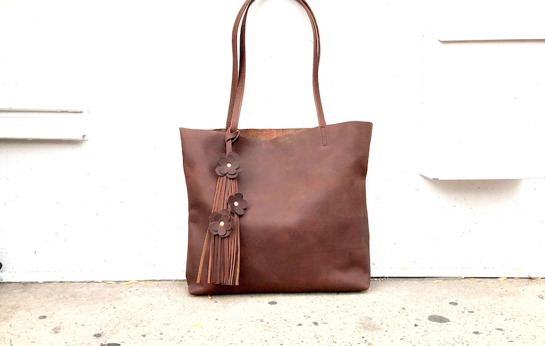 c1040ee173ba Brown leather tote bag Work and travel leather bag Leather