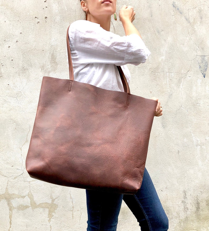 73bc1567921 Large Brown Leather Tote Bag - Oversized Leather Shopper bag with zipper -  Work and Travel leather computer bag -Handmade School leather bag