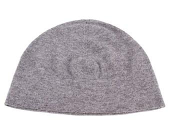 8368b107d21 Ladies 100% Cashmere Watch Cap Beanie Hat - Light Grey - handmade in  Scotland by Love Cashmere