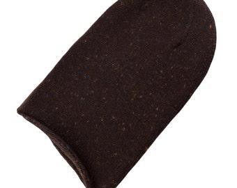 Ladies 100% Tweed Cashmere Beanie Hat - 'Brown Fleck' - handmade in Scotland by Love Cashmere