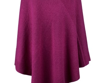 Ladies Designer 100% Cashmere Poncho - 'Fuchsia Pink' - handmade in Scotland by Love Cashmere