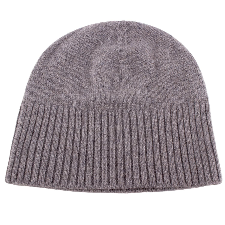 e1358df333c Ladies 100% Cashmere Ski Beanie Hat  Light Grey