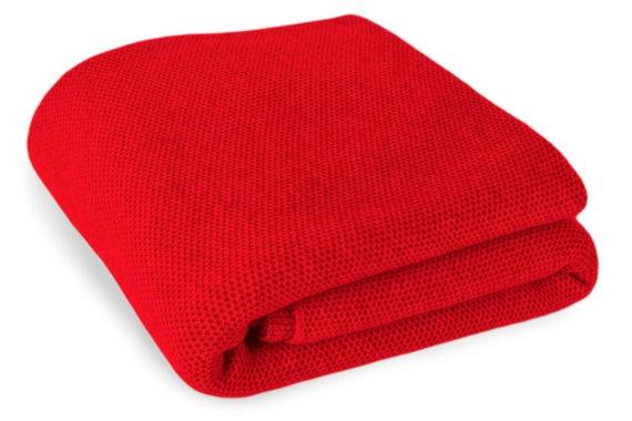 Luxury 100% Cashmere Waffle Stitch Blanket  Red   1af1ab781