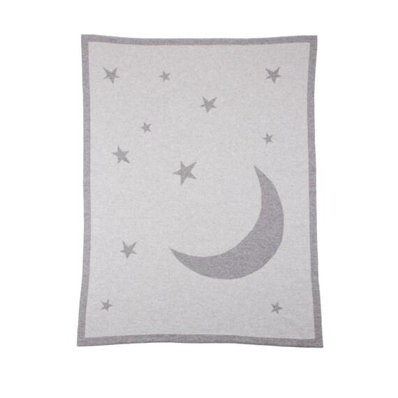 Lune & étoiles unisexe 100 % cachemire Baby Blanket - «gris Multi» - fait à la main en Ecosse par amour Cachemire