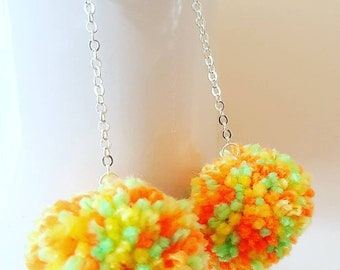 Citrus pompom earrings, tropical  pompom earrings, boho earrings, gift for her, festival earrings, statement earrings, lime boho earrings