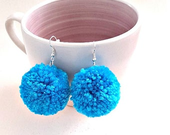 Blue pompom earrings, blue pompom earrings, gift for her, festival earrings, boho earrings, boho dangle earrings, statement earrings