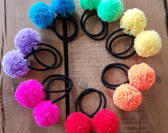 pompom hair ties, pompom hair elastics, pompom bobbles, pompom ponytailer, festival hair ties, gift for her, boho hair ties, back to school