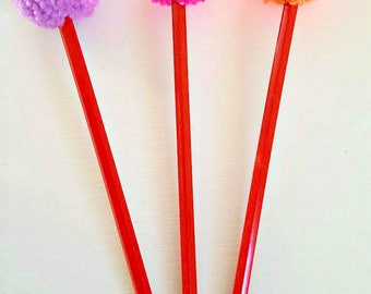 Pompom pencil, pompom stationary, pompom pencil topper, gift for her, gift for him, back to school