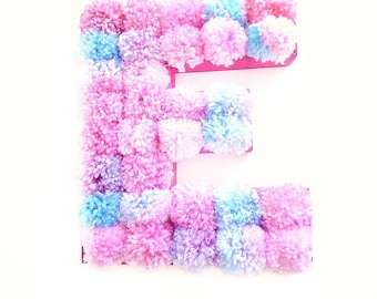 Pompom Letter, Pompom centrepiece, Pompom Decor, Freestanding Letter, Nursery decor, wedding decor, baby shower gift