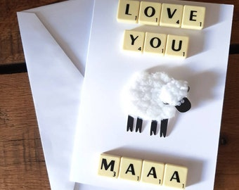 Mothers day card, Birthday card, scrabble card, personalized card, handcrafted card, custom card, card for her, Mum card