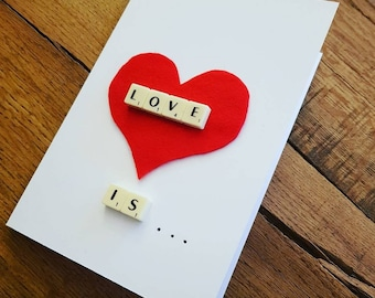 Love is, scrabble card, anniversary card, personalized card, custom card, card for him, card for her, card for wife, card for hubby,