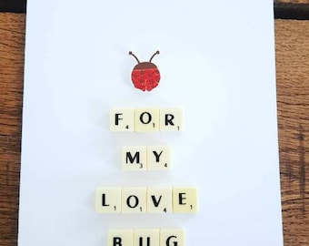 For My Love Bug, Valentine's day Card, I love you, anniversary card, card for him, card for her, card for wife, card for hubby, Ladybird