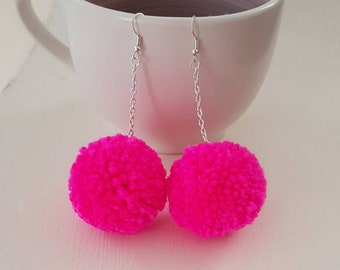 Hot pink pompom earrings, pom pom earrings, boho earrings, gift for her, festival earrings, statement earrings, boho dangle earrings