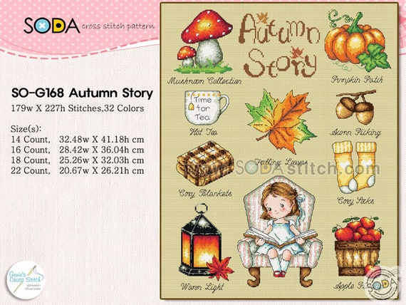 SO-G125 The Little Hair Shop SODA Cross Stitch Pattern leaflet authentic Korean cross stitch design chart color printed on coated paper