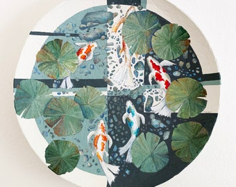 Contemporary Acrylic Koi Fish Painting Abstract One of a Kind Gray White  Orange Fish Wall Decor Whimsical