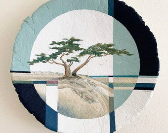 Acrylic Painting Contemporary Monterey Cypress Wall Decor Geometric One of a Kind Tree Beach