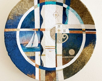 Painting Contemporary Geometric Sailboat Compass Acrylic Blue Gold Copper Captain of My Fate Wall Decor Map
