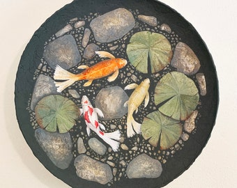 Acrylic One of a Kind Koi Painting Round Fish Contemporary Follow The Leader Orange Gray Green Yellow White Round Wall Decor