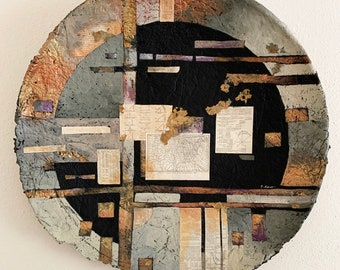 Contemporary One of a Kind Acrylic Painting Survey Maps Ephemera One of a Kind Wall Decor Black Rust Cream Rising From The Ashes