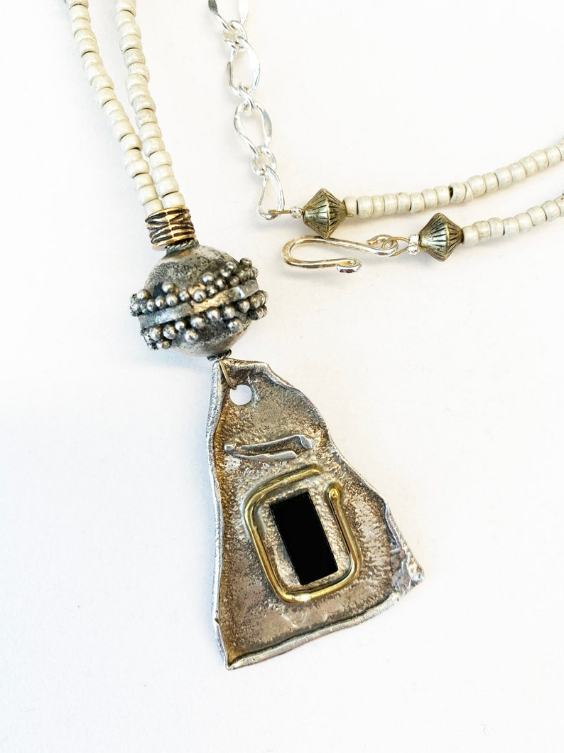 Necklace Long One of a Kind Silver Handmade Pendant Jet Glass Beads Beaded Ivory Color