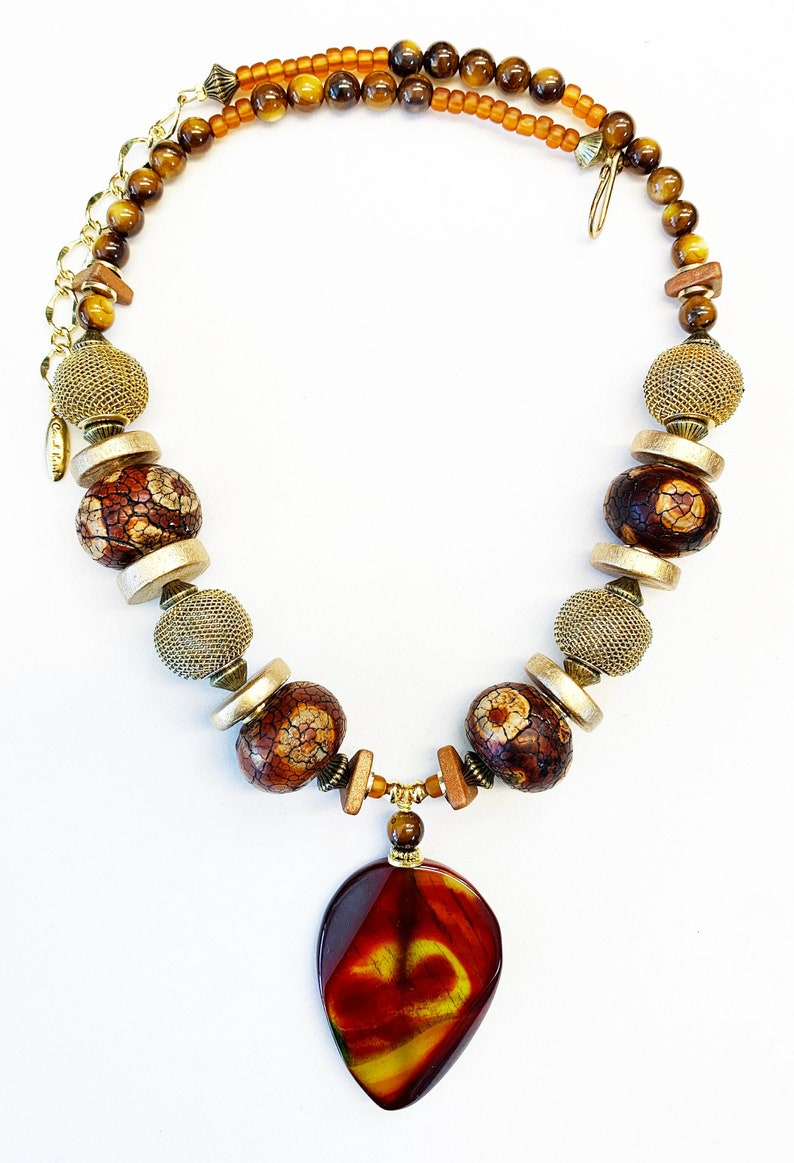 One of a Kind Necklace Agate Pendant Gold Tone Mesh Beads Ceramic Large Beads Mother of Pearl Statement Brown Rust Beaded