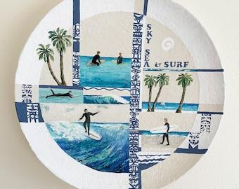 Surf's Up Acrylic Saucer Original One of a Kind Sturdy Surfer Painting Ocean Beach Blue Tiki White Aqua