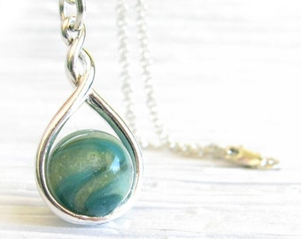 Artisan pet memorial cremation ashes pendant necklace handmade from glass and sterling silver ~ Halo
