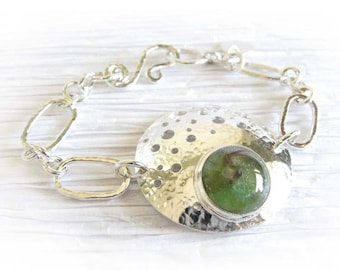 Unique crescent pet memorial necklace artisan made from glass cremation ashes and sterling silver ~ Ethereal