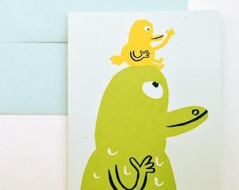 Alligator & Bird Greeting Card