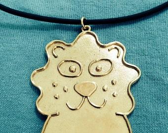 Friendly Lion Necklace, Brass