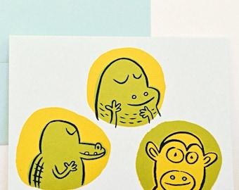 3 Animals Greeting Card