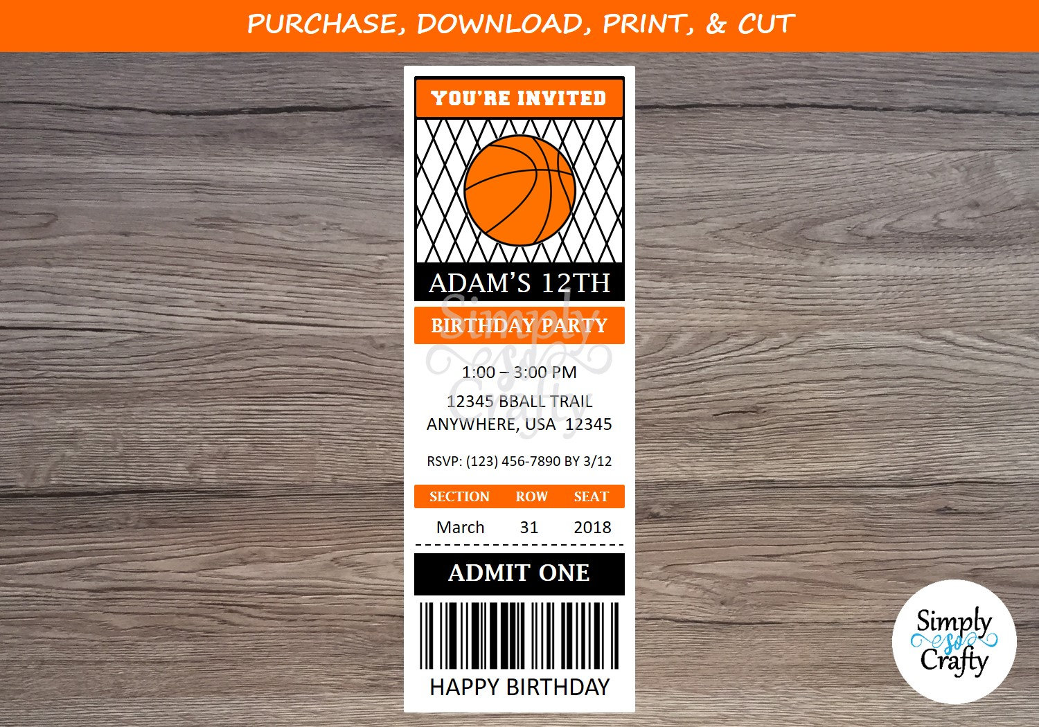 Basketball Party Invitations Ticket Printable PDF