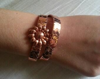 Rose Gold Leather Wrap Bracelet