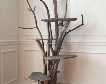 Large Driftwood Cat Climbing Tree. Handmade from Reclaimed Driftwood.
