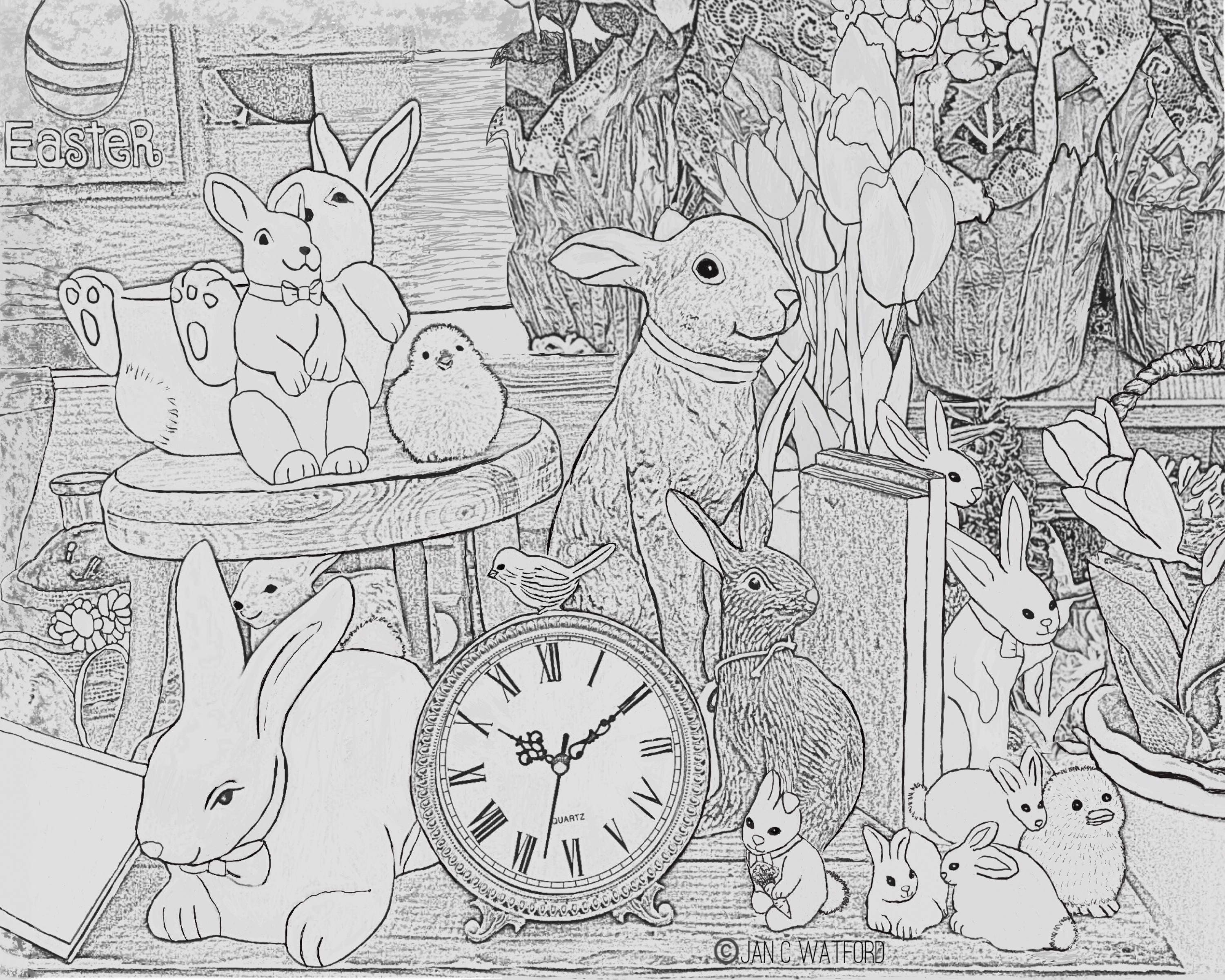 Easter Bunny Time Adult Coloring Pages Gray Scale | Etsy