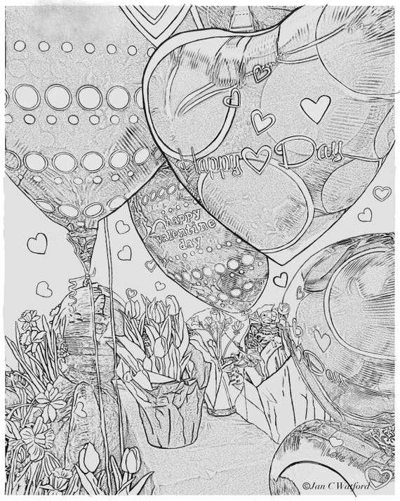 Valentine 2 Balloons And Flowers Adult Coloring Pages Etsy