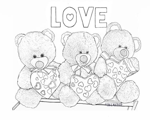 Valentine Teddy Bears Adult Coloring Pages Coloring Page Gray Scale Printable Digital Download Adult Coloring Kids Coloring Page