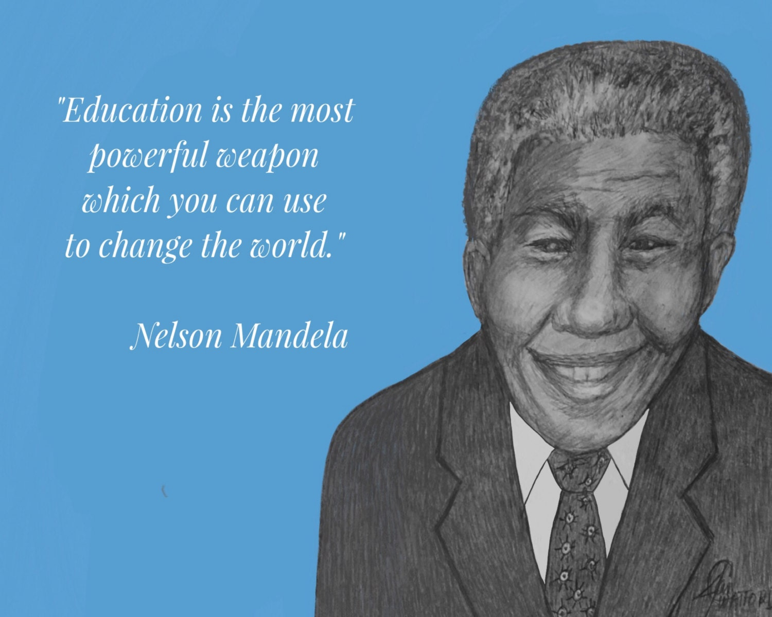 Nelson Mandela Inspirational Quote Education Is The Most Etsy