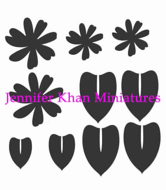 Leaf Mix 2 Cutter ~ 12th Scale ~ 24th Scale ~ 9th Scale ~ Clay Cutters ~ Cold Porcelain Cutters ~ Miniature Flower Making