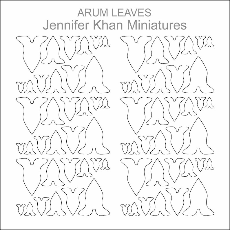 Arum Leaves ~ 12th Scale ~ 24th Scale ~ 9th Scale ~ Laser Cut Paper Flowers~ Miniature Flower Making